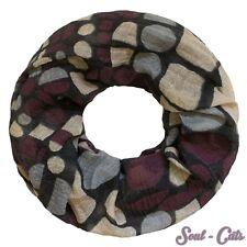 Loopschal geometrische Formen grau bordeaux beige Halstuch Schal 70s Muster