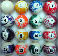 "Marble Swirl Pool Table Billiard Ball Set Regulation Size 2.25"" or 2 1/4in Balls"