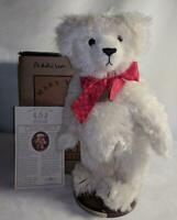 """LM Mary Meyer Addison 15"""" Jointed White Mohair Classic Teddy Bear & Stand NEW"""
