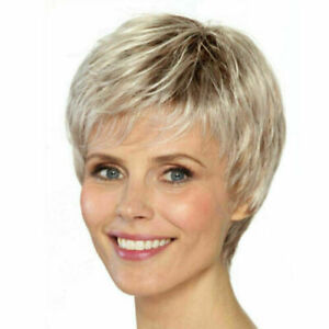 Women Ladies Wig Short Straight Silver Grey Classic Synthetic Hair Wigs Cosplay