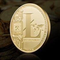 Heiß ! Gold überzogener Gedenk Litecoin sammelbarer Eisen-Bergmann-Münze XN9 DE
