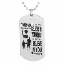 Father Son Dog Tag Link Chain Pendant Necklace Kids Love Gift Military BIYK