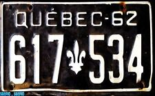 CANADA 1962 QUEBEC 617534 WHITE ON BLACK LICENSE PLATE LA BELLE PROVINCE VINTAGE