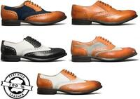 Mister Carlo MONTY II Mens Leather/Suede/Tweed Brogue Lace Up Smart Oxford Shoes
