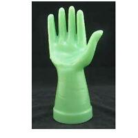 "NEW Art Deco Jadeite Green Glass 8"" Hand Figurine Jewelry Display Ring Holder"