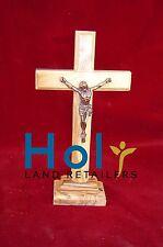 Vintage Olive Wood Cross Jerusalem Catholic cross bronze Crucifix with stand