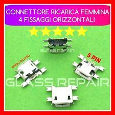 x 4 CONNETTORI RICARICA Micro USB 5 PIN 4 FISSAGGI ORIZZONTALI TABLET SMARTPHONE