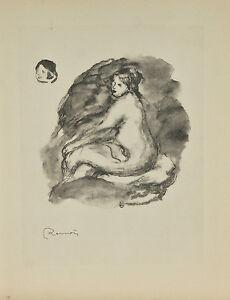 """""""Femme nue assise"""" By Fernand Mourlot After Renoir Lithograph LE #29/3000"""