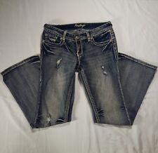Amethyst Distressed Destroyed Denim Jeans Stretchy Flap Button Pockets EUC