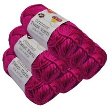 Glimmer Twist Acrylic Yarn 100g 134m Solid Fuchsia