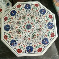 """20"""" White Marble Coffee Table Top Multi Marquetry Floral Inlay Furniturte E1461"""