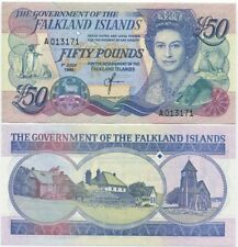 Falkland Islands 50 Pounds 1990 UNC P-16, QEII, CV=$290