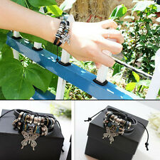 New Leather Butterfly Charm Handmade Wrap Fashion Wristband Adjustable Bracelet