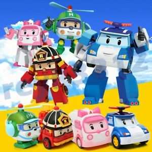 6Pcs Robocar Toys POLI ROY AMBER Robot Transformers Action Figure Car Toy