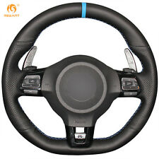 Black Leather Steering Wheel Cover for Volkswagen Golf 6 GTI MK6 Polo Scirocco R