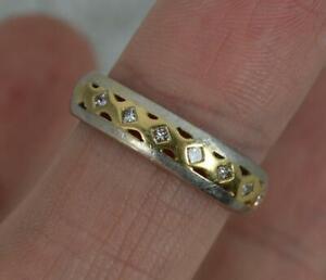 18 Carat Gold Two Tone and Princess Diamond Half Eternity Band Ring