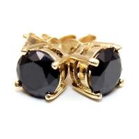 Black Diamond Unique 2ct Solitaire Solid Gold 9ct Stud Earrings