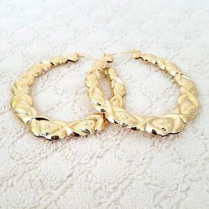 14K Gold Tone Bamboo XO Style Hoop Earrings Door Knocker US SELLER