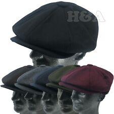 Men's Classic 8 Panel Newsboy Snap Brim Cabbie Premium Wool Applejack Plain Hat
