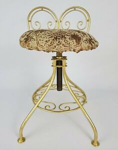 Vintage Vanity Chair Stool Swivel Seat French Hollywood Regency Mid-Century