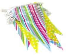12ft Triangular Assorted Stripe Colour Bunting Easter Home School Decorations