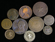 Lot of 10 Old World Foreign Coins 1800's India Belgium Great Britain Denmark Tun
