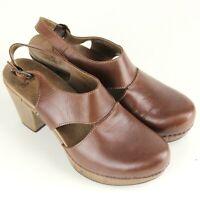 "DANSKO Riley SlingBack Clog Women Dress Shoes Size EU 41 Brown Leather 3"" Heels"