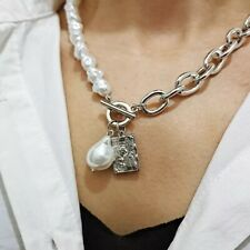 Vintage Baroque Pearl Chain Necklace Pendant Gold