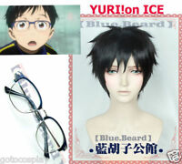 Yuri on Ice Katsuki Yuuri Cosplay wig + Glasses Free cap track Black short Hair