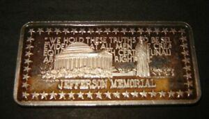 1975 Jefferson Memorial Silver Art Bar Hamilton Mint Wonders of America
