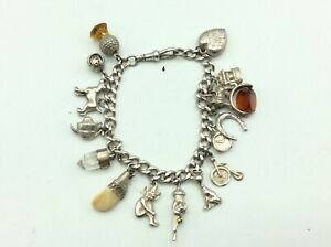 Fantastic Antique Vintage Chunky Solid Silver Charm Bracelet With Charms Fobs