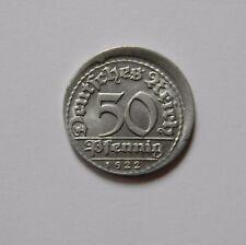WEIMAR: 50 Pfennig 1922 D, J. 301, stempelglanz, DEZENTRIERT !!!
