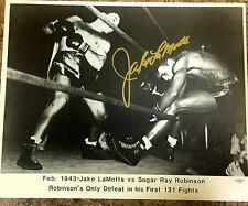 Jake Lamotta Signed 16x20 Photo Raging Bull vs Sugar Ray Robinson Jsa Coa A10281
