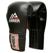 Amber Professional Leather Boxing Training Sparring Punching Bag Gloves Black