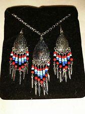 Vintage Necklace Earring Set Southwest/Native Design Mandella Shield Beaded