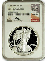 2014 W $1 Proof Silver Eagle NGC PF70 Ultra Cameo John Mercanti Signed