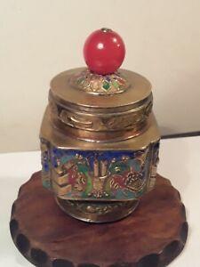 Antique Chinese Peking Glass Hat Finial on Enamel Tea Caddy