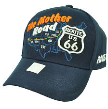 The Mother Road Route US 66 America Map Highway First Hat Cap Adjustable Navy