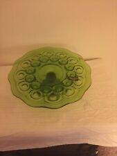 L.E. Smith Moon and Stars Vintage Low Heritage Green Cake Stand