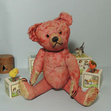 Antique well loved RED mohair Teddy bear 1920's  RARE!