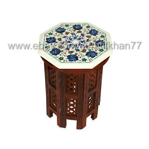 Side Table White Marble Inlay Small Coffee Table Floral Design Pietra Dura Art