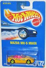 Hot Wheels 1992 Collector #172 Mazda MX-5 Miata Blue Card MOC VHTF Lime wheels