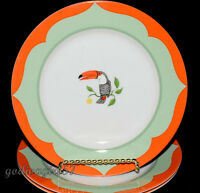 Lynn Chase Monkey Business * 3 BREAD & BUTTER PLATES  * Toucans, Gently Used