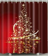 Elegant Christmas Tree With Stars Xmas Red Bathroom Shower Curtain Polyester
