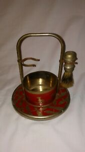 Vintage Tin Shaving Stand with Scotty Dogs and Sterilized Brush!  NO RESERVE!