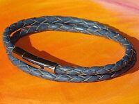 Mens /Ladies 4mm Blue braided leather & stainless steel bracelet by Lyme Bay Art