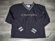 Vintage Champion Black Windbreaker Spellout Pullover Mens Jacket Coat Size Large