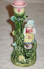 "Antique/Vintage French Majolica China Hand Painted Decorated Candle Holder 6"" Ht"