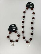 NCAA Licensed Bead Stretch Bracelet and Necklace Set Alabama Crimson Tide