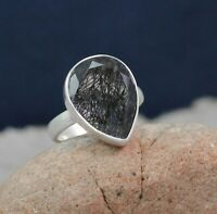 Solid 925 Sterling Silver Black Rutile Gemstone Anniversary Gift Ring Size 5.75